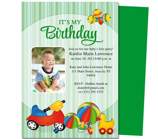 baby 1st birthday invitation template