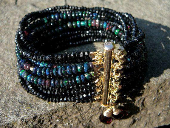 Black Ethiopian Opal/Black Spinel Multi-Strand Gemstone Bracelet/Garnet Briolettes/14KGF Clasp