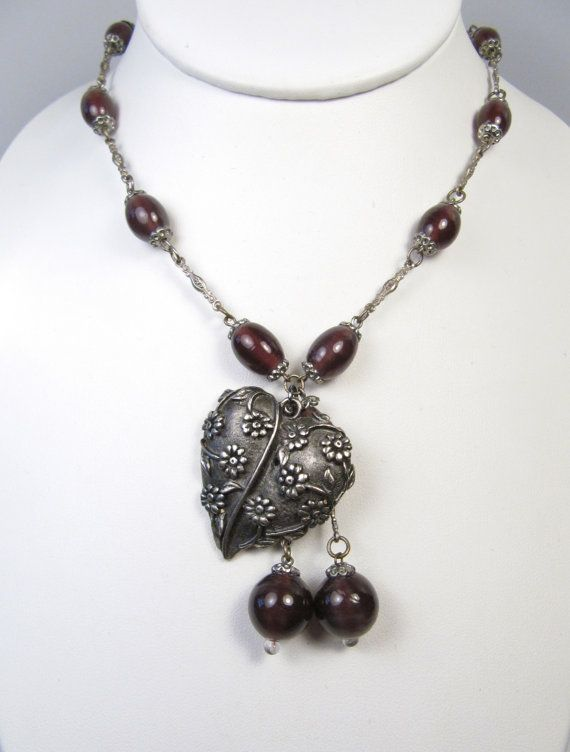 Glass Purple Amethyst Beads Repousse Style Flower Heart Necklace Handmade on Etsy, $45.00