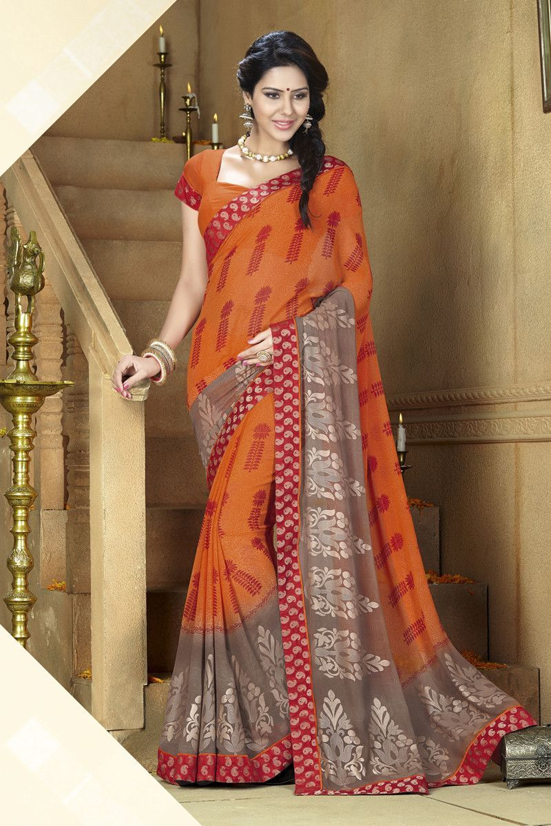 Silk saree lehenga orange georgette printed saree  printed sarees on variation
