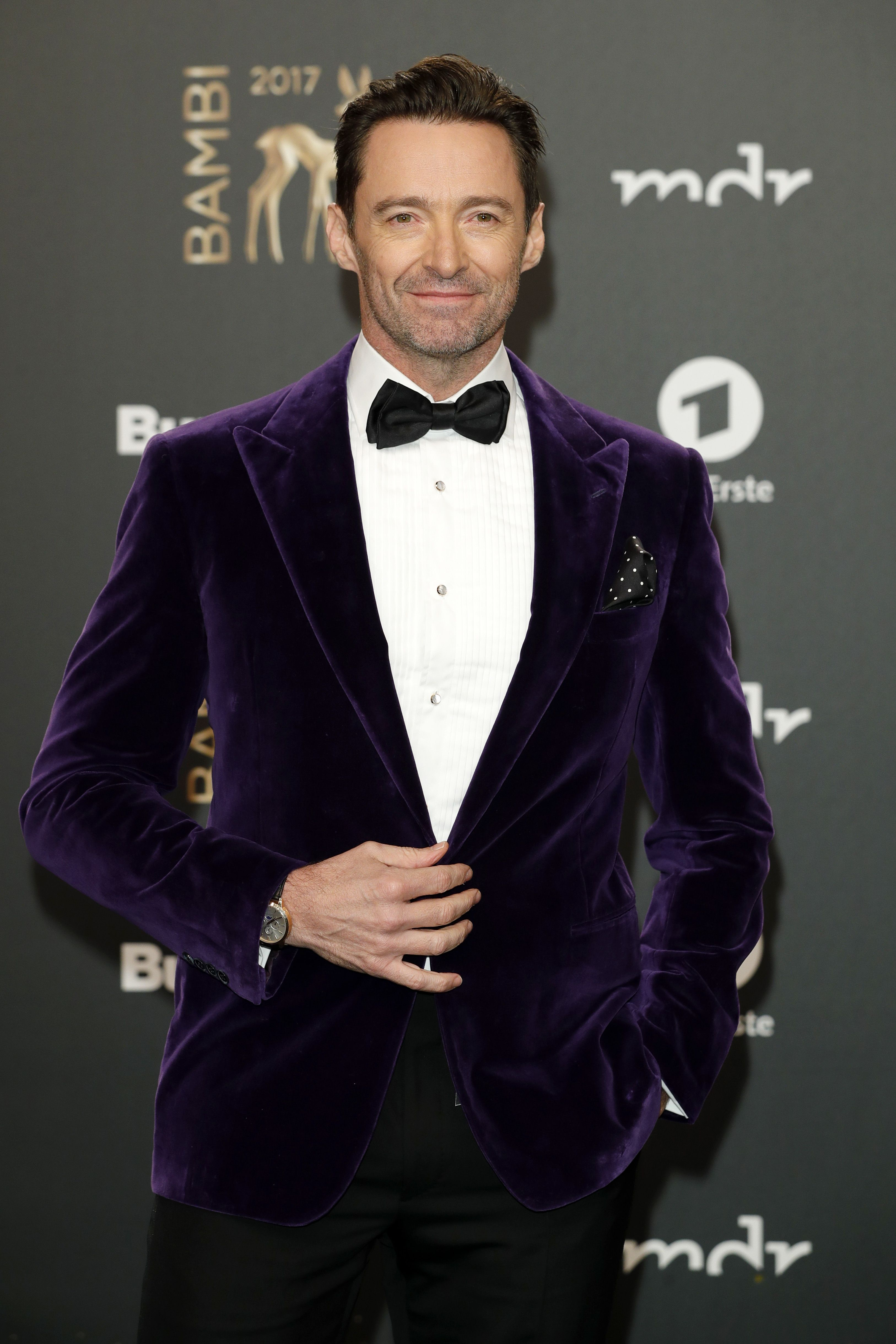 Hugh Jackman wearing a Ralph Lauren Purple Label look to the  BambiAwards  in Germany. 8a65888993