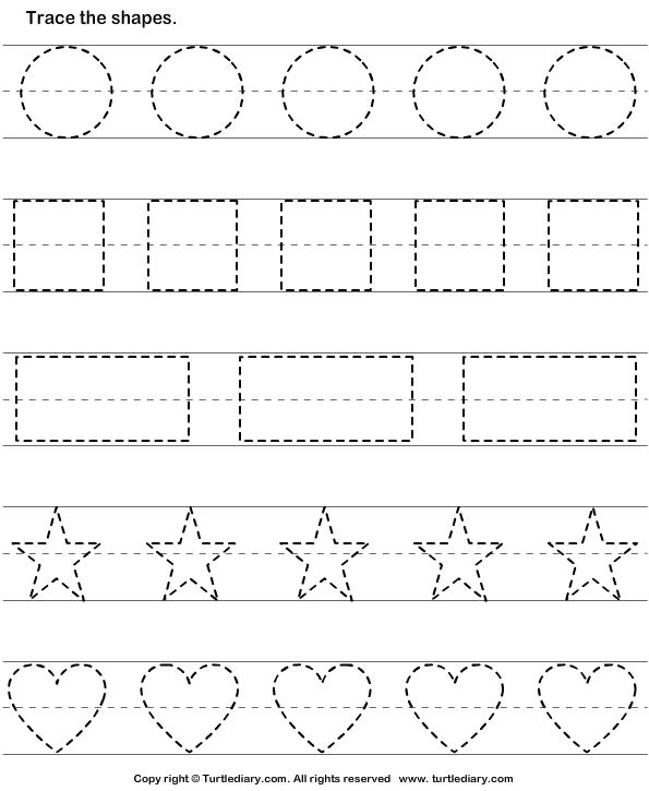 Trace And Color Shape 2 Worksheet Shape Tracing Worksheets Shapes Worksheets Shape Worksheets For Preschool
