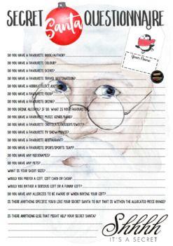 Secret Santa Questionnaire for Grown-Ups | Christmas | AUS/NZ/UK Compatible
