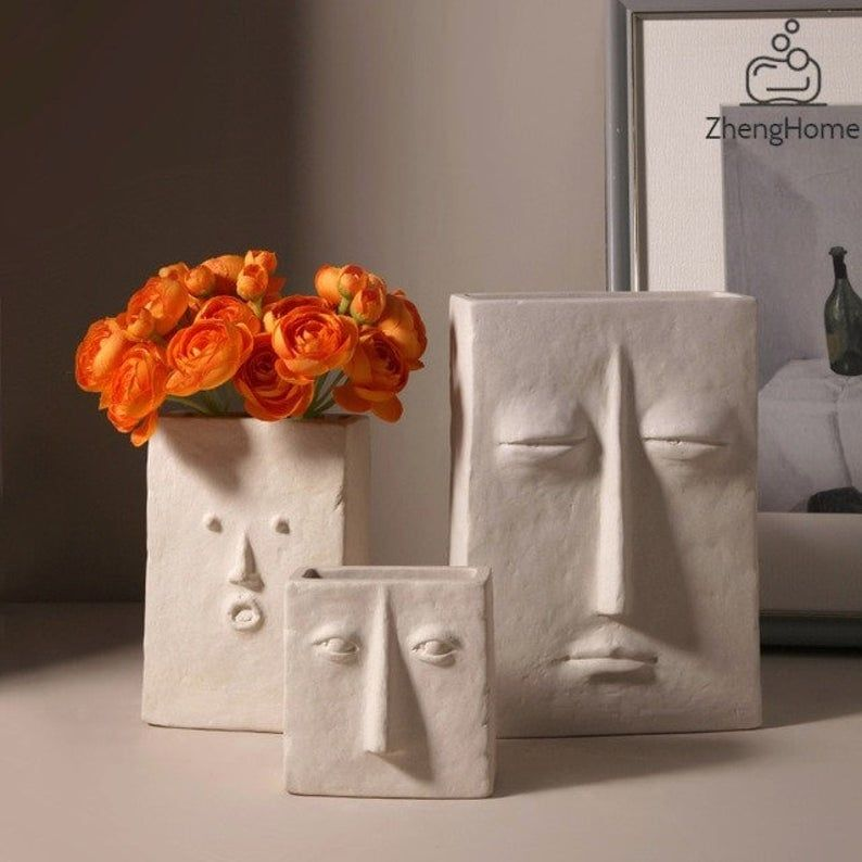 Creative Ceramic Vase for Flowers / Human Face Des