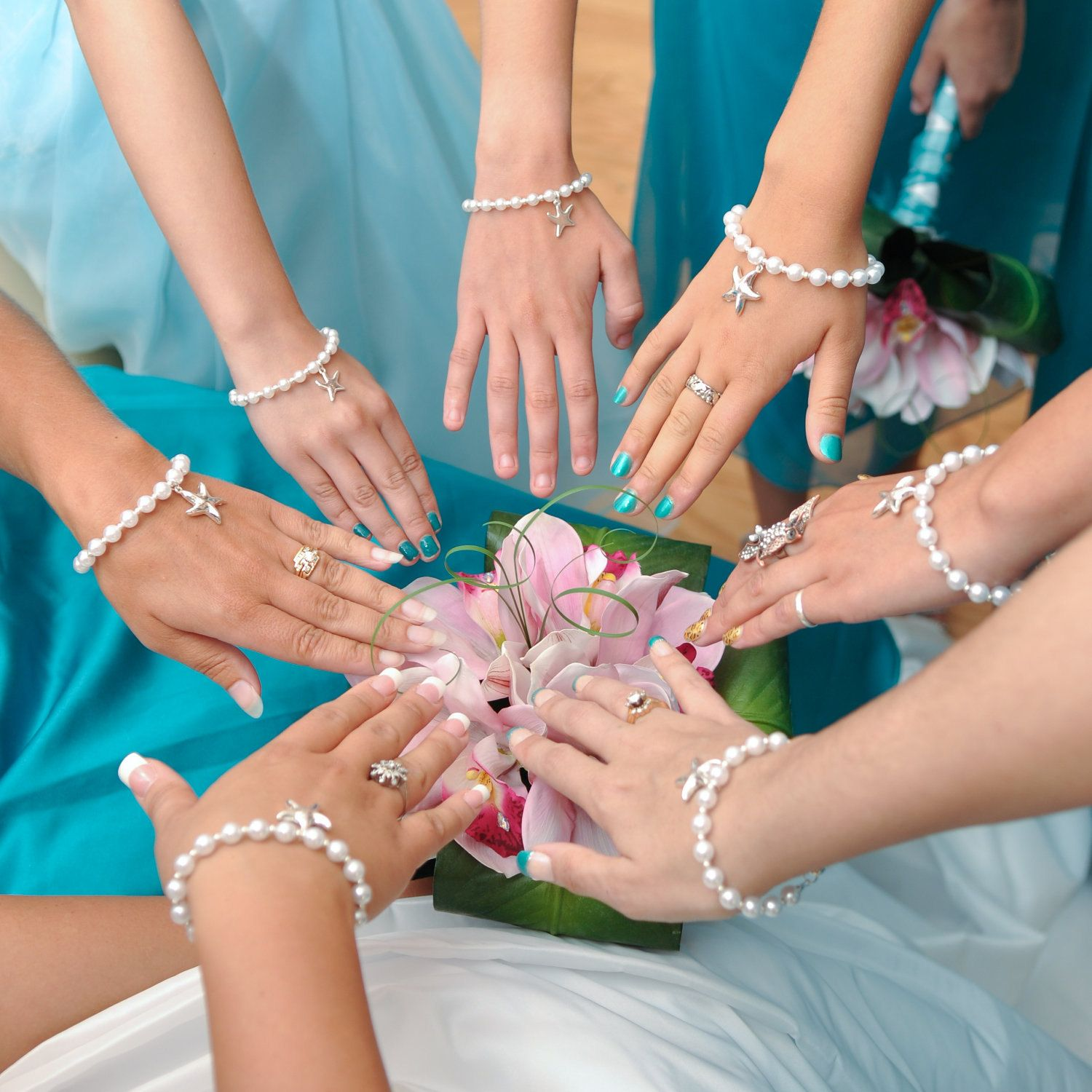 Pearl Bracelet With Silver Starfish Charm For The Bride And Her Bridesmaids 15 00 Via