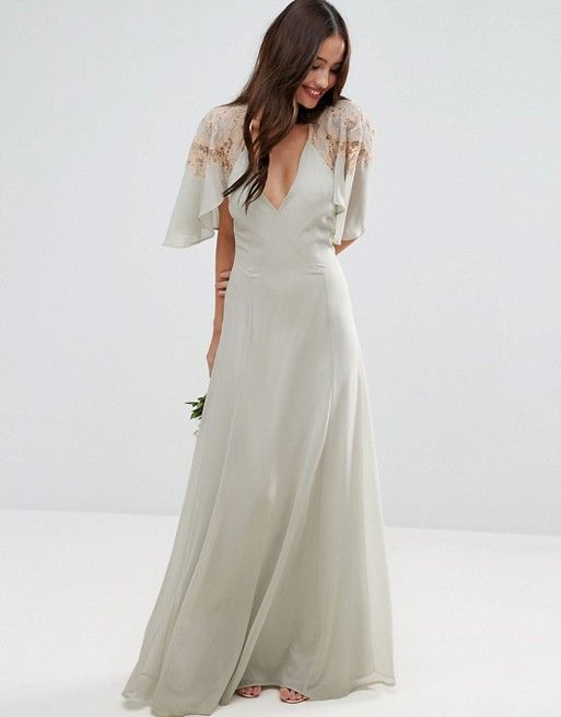 White cape dress maxi for wedding