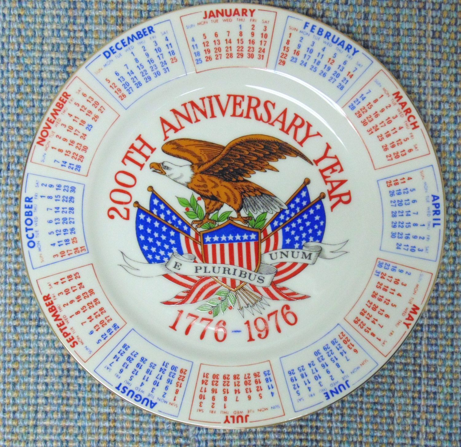 Bicentennial Calendar Plate Spencers Gifts Red White And
