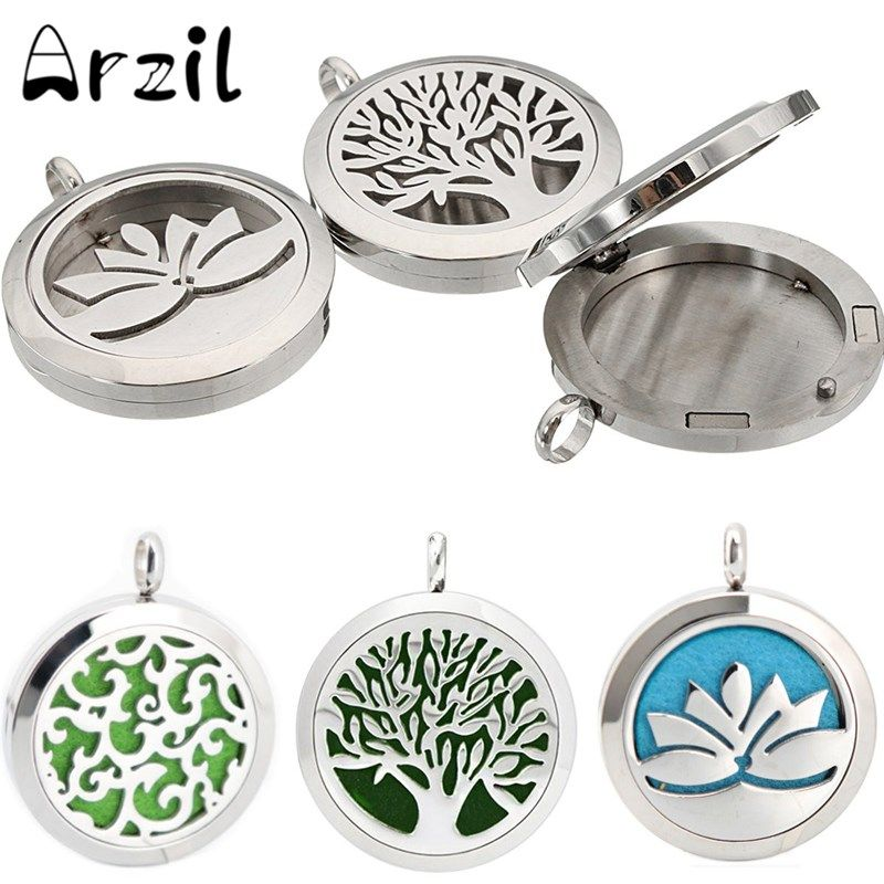 Essential Oils Box 1PC Diffuser Locket Stainless Steel Perfume Hollow Locket Silver Aromatherapy Lockets Pendant Without Chains #Affiliate