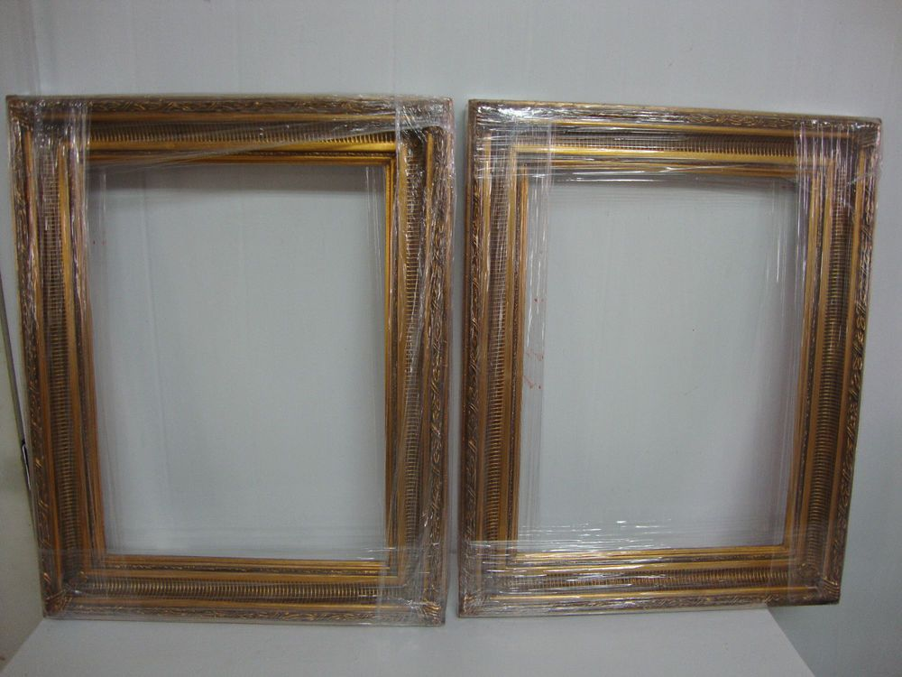 Lot Of 2 Wood Picture Frame Ornate Antique Gold 16 X 12 Moulding Wide 2 1 2 Wood Picture Frames Picture Frames Frame Crafts
