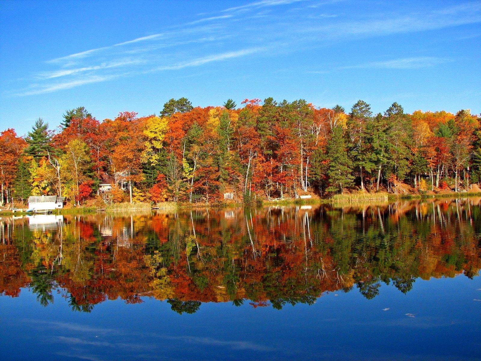 Fall Colors Bass Lake Washington Wisconsin United States Colorful Wallpaper Fall Colors Usa Pictures