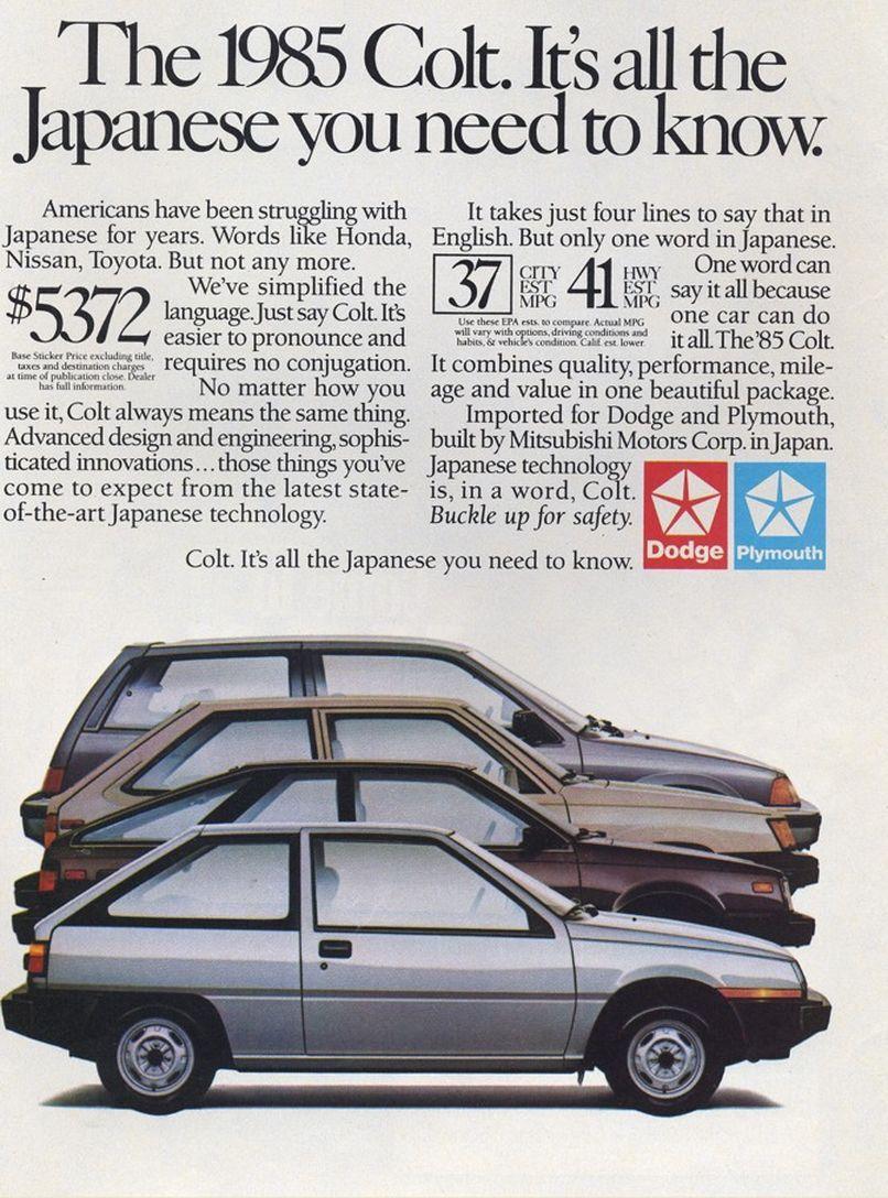 1985 Dodge Colt ad | Mopar | Dodge, Vintage cars, Ad car