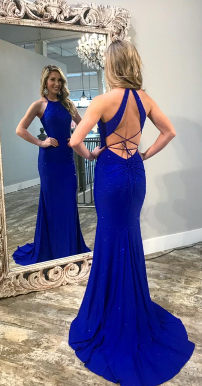 36750986a2b Sparkle Mermaid Royal Blue Long Evening Dress from dreamdressy in ...