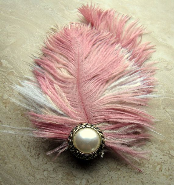 Feather Hair Clip  Colorful Pink Ostrich by peacefrogdesigns, $22.00