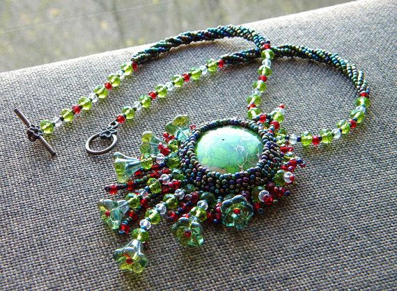 """Set """"Forest of Red Riding Hood"""" OOAK Pendant with fringle & long earrings. Dark peacock, red, green, transparent beads, variscite caboshon."""