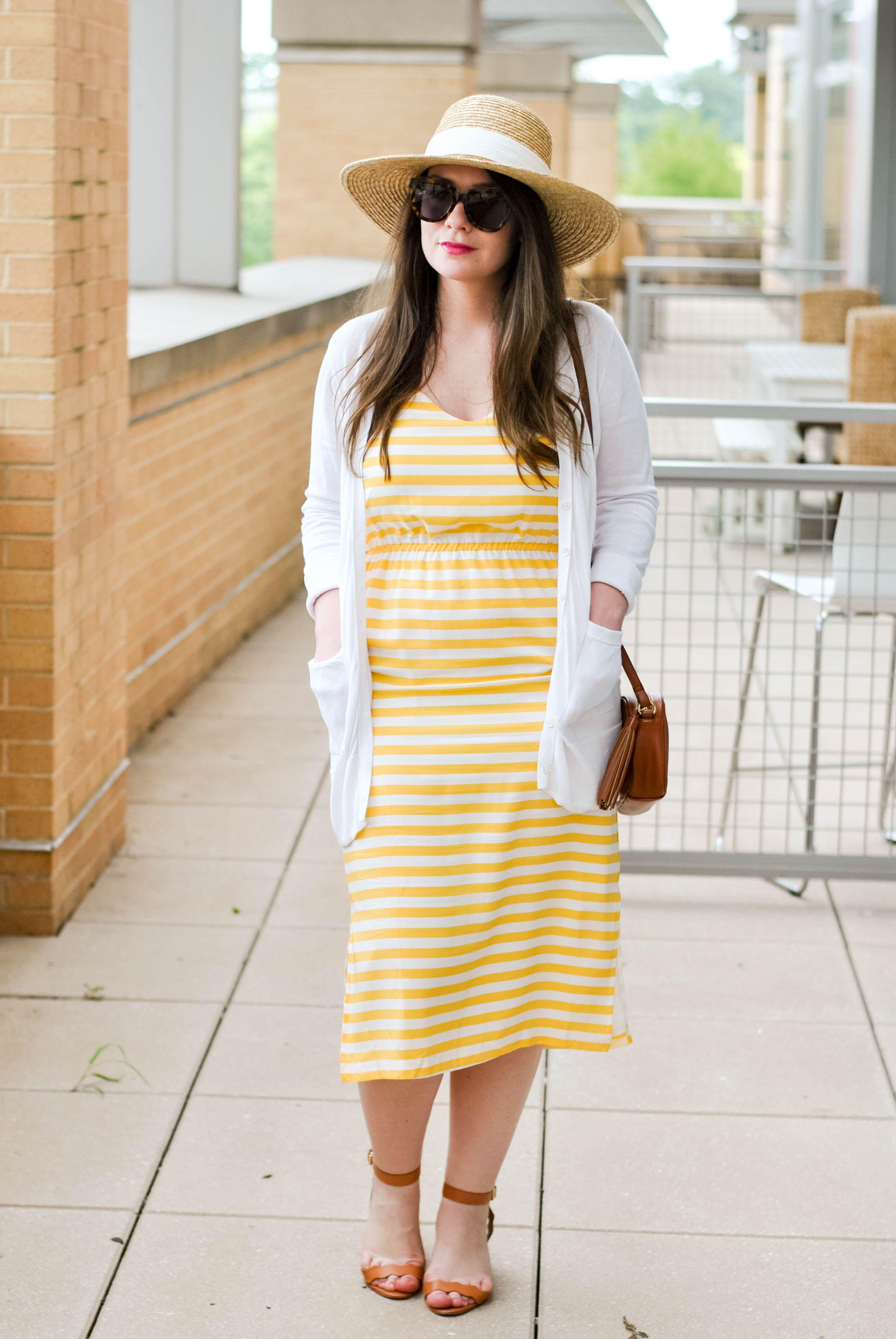 Yellow Dress White Cardigan Straw Hat Maxi Skirt Style Fashion Weather Wear [ 3652 x 2445 Pixel ]