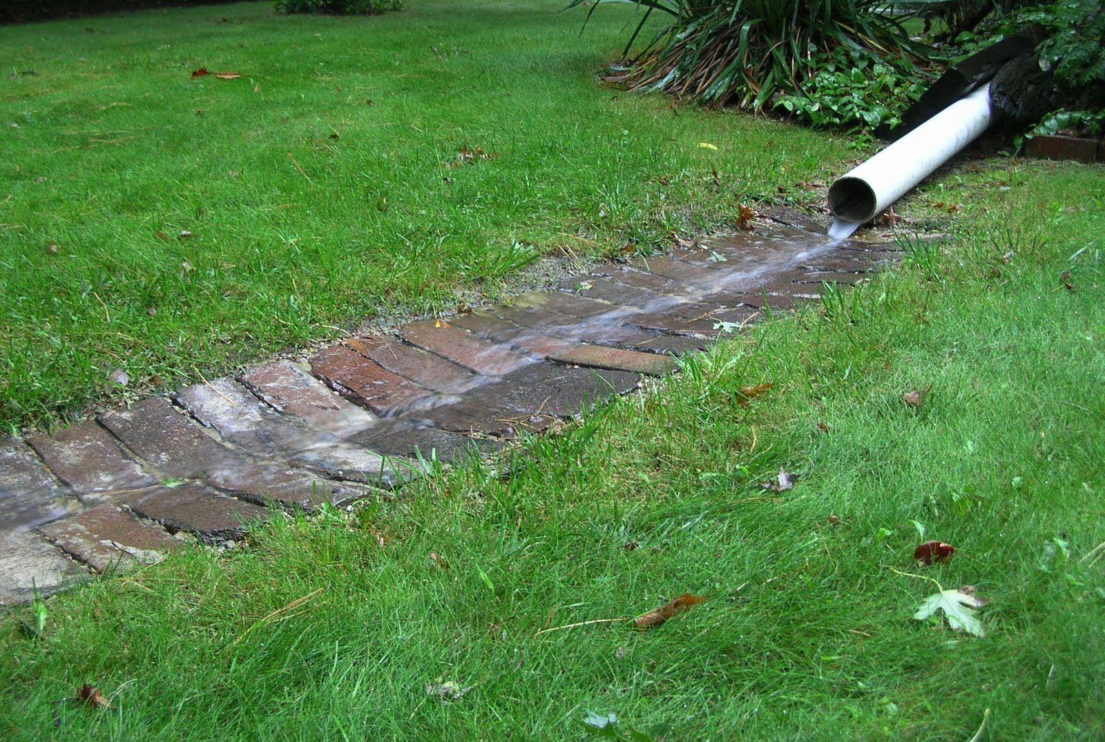 Brick Runnel Rain Garden Landscape Drainage Yard Drainage