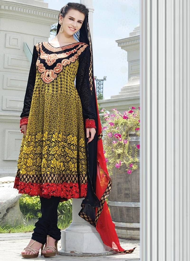 Enticing yellow georgette anarkali suit contemporary churidars