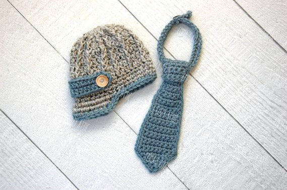 c1b4194670d Baby newborn boy hat newsboy hat and necktie set brim hat photography prop  infant boy photo prop grey blue crochet knit baby boy beanie on Etsy