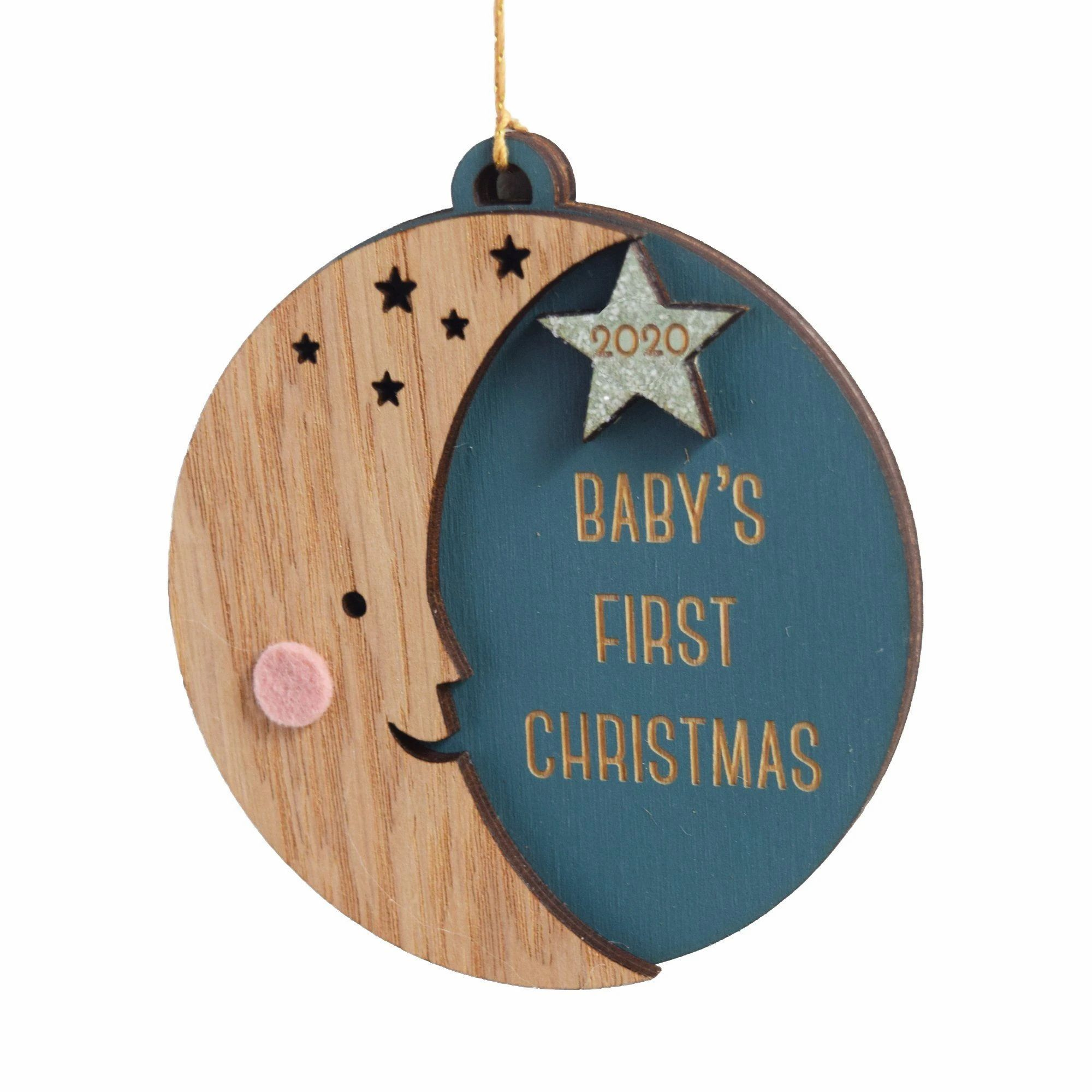 Personalized Baby S First Christmas Moon Ornament Baby Christmas Ornaments Baby S First Christmas Gifts Baby First Christmas Ornament