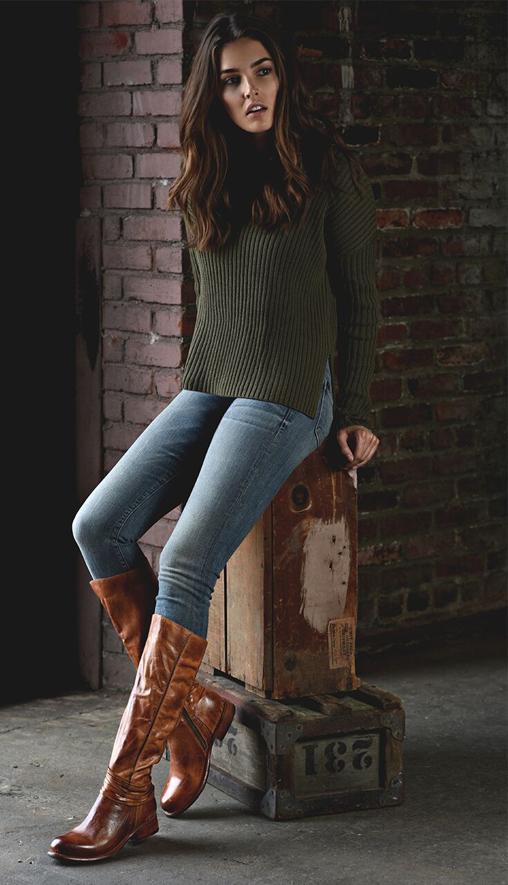Pair These Handmade Tan Leather Knee High Boots By Bedstu With Light Washed Denim An High Knee Boots Outfit Light Brown Boots Outfit Brown Leather Boots Outfit