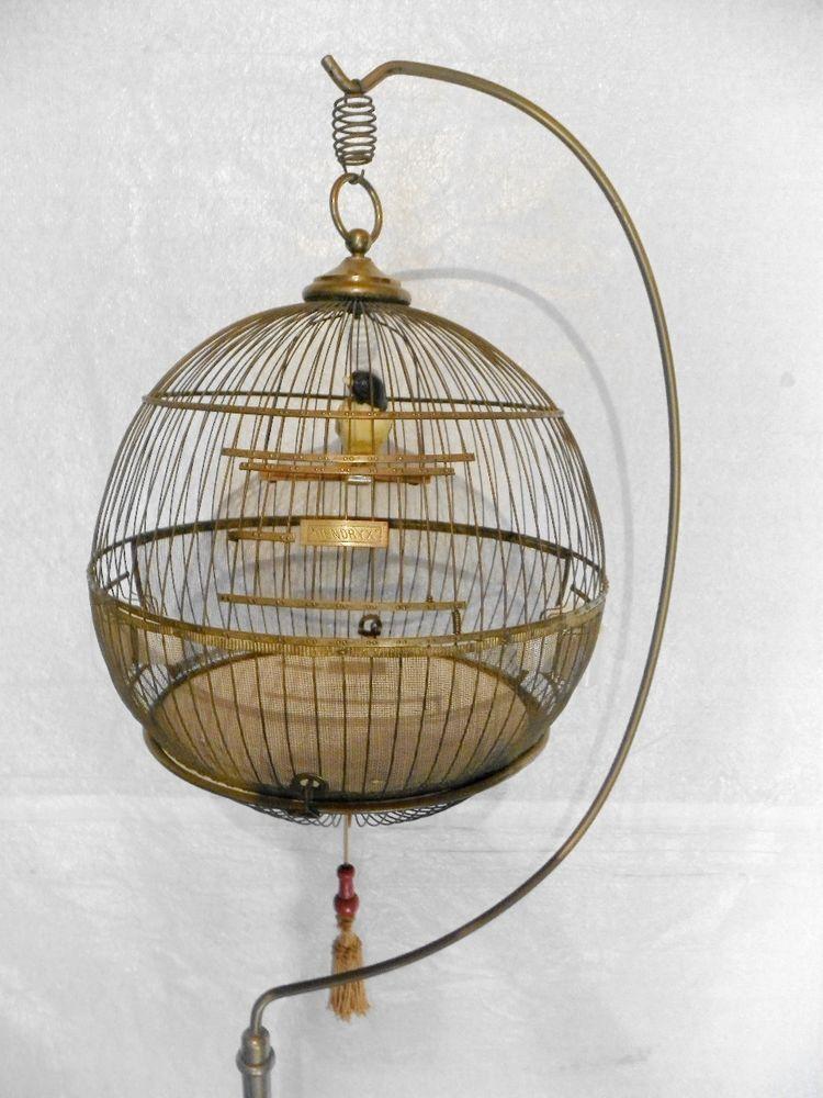 Vintage hendryx brass birdcage bird cage round hanging ...