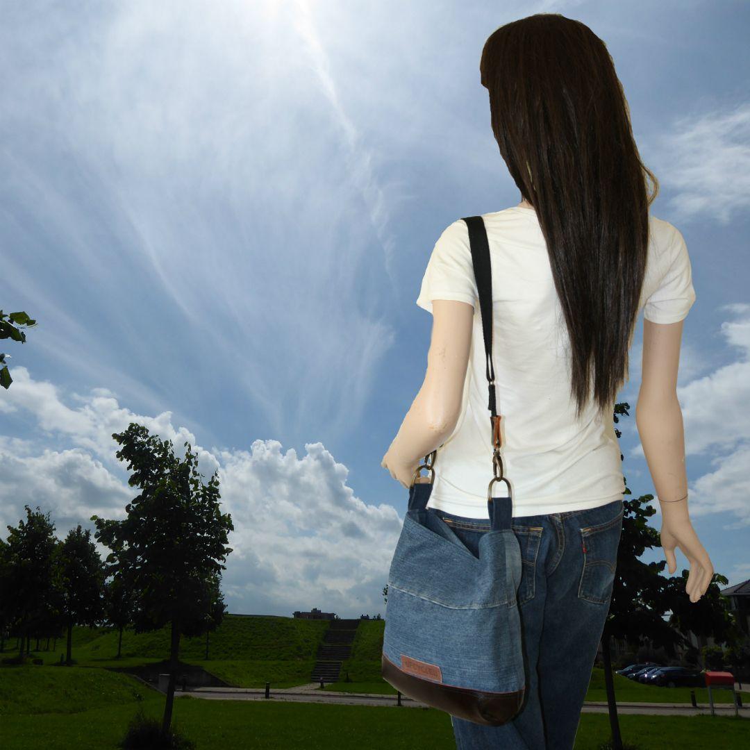Sky Leren Bankstel.Handgemaakte Spijkertas Van Hergebruikte Spijkerbroeken Het Leer