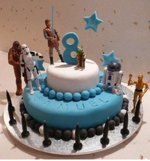 Two tier Star Wars theme birthday cake for 8-year-old with ...