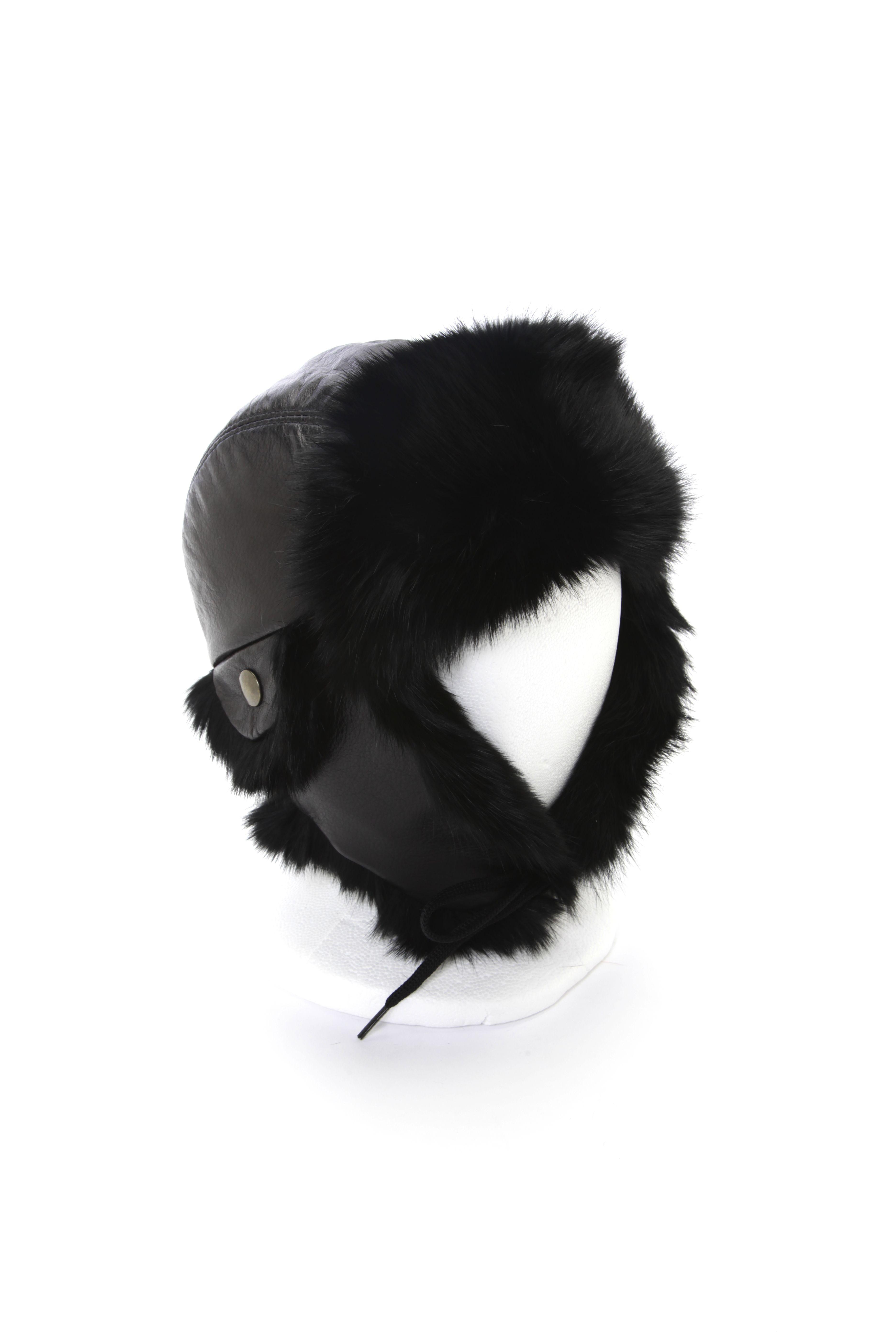 Black rabbit aviator hat   Chapeau aviator lapin noir  5f9ba76d8560