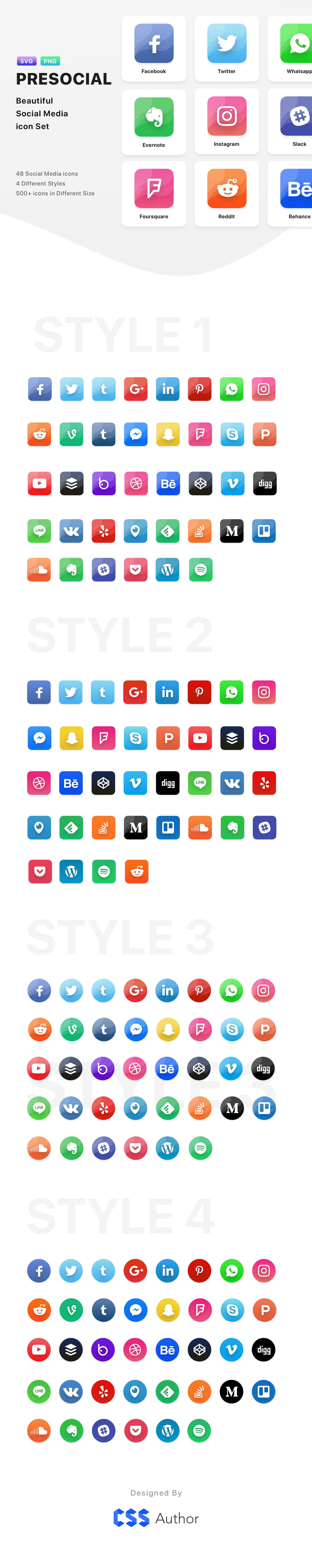 PRESOCIAL Free Social Media Iconset Social media