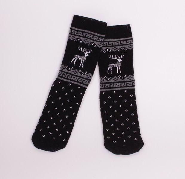 Дамски, коледни термо чорапи в черно и бели еленчета. В..