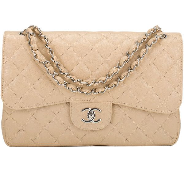 Pre Owned Chanel Beige Quilted Caviar Jumbo Classic Double Flap Bag 6 500 Liked On Polyvore Featuring Bags Handbags Multi Colored