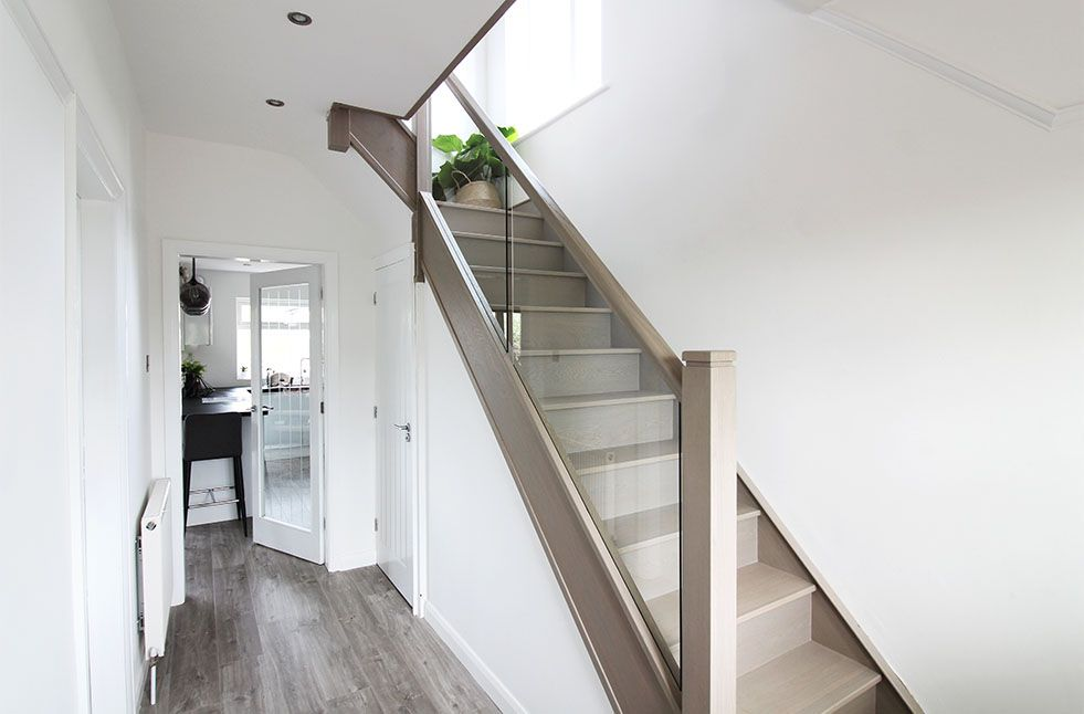 Best Canyon Grey Oak Complete Staircase Renovation Staircase 400 x 300
