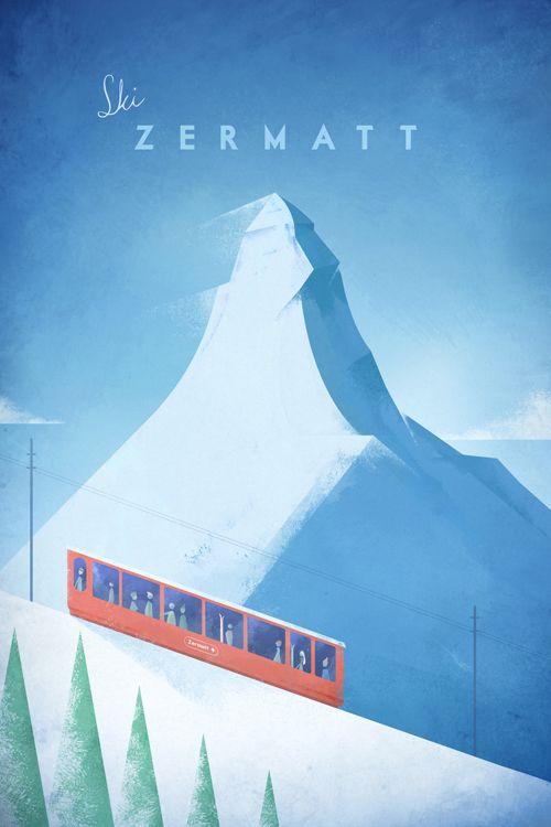 Vintage Ski Poster Art Print Illustration By Henry Rivers Vintage Ski Posters Ski Posters Retro Poster