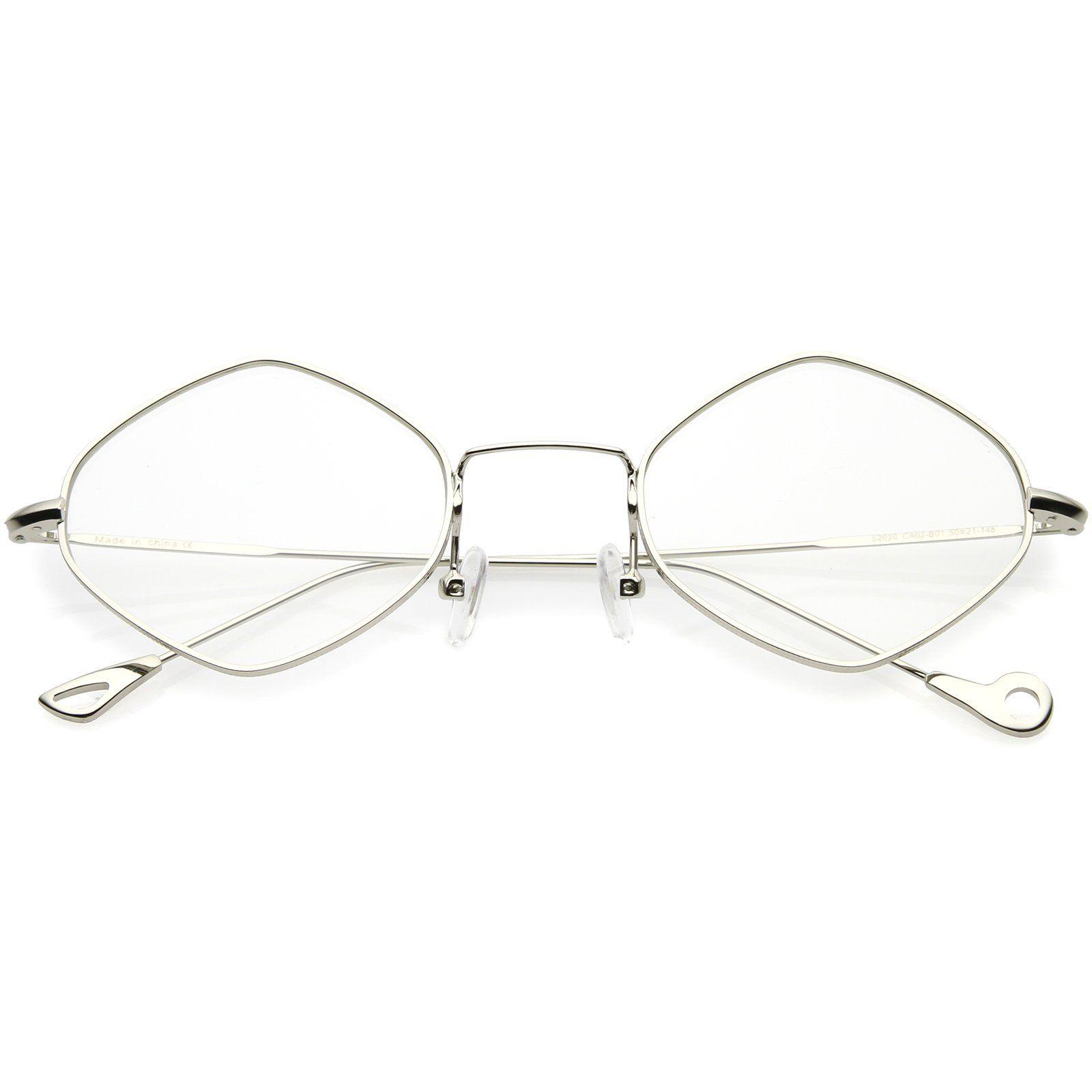 c54b61031f Premium Small Metal Diamond Eyeglasses Ultra Slim Arms Color Tinted Flat  Lens 51mm