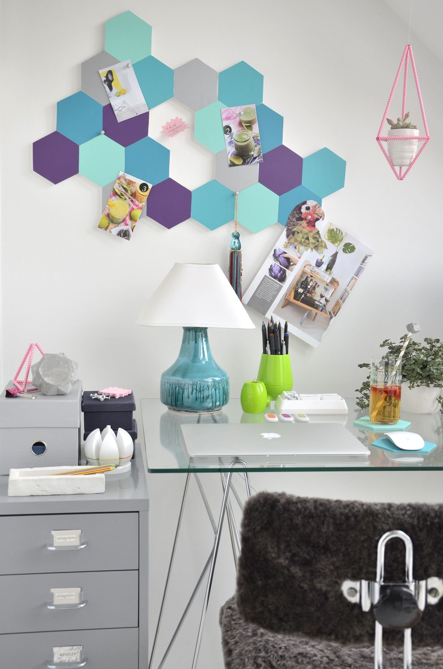 diy office projects. Colorful \u0026 Easy DIY Project: Cute Honeycomb Pin Board Diy Office Projects