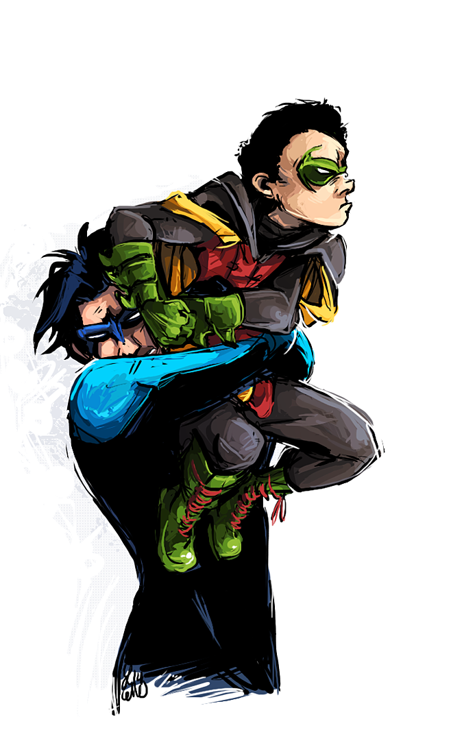 Dick Grayson and Damian Wayne I'm sure dick is totally