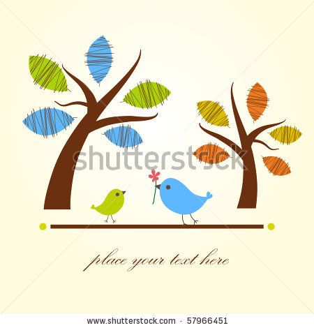 stock vector : Greeting card with two birds under tree