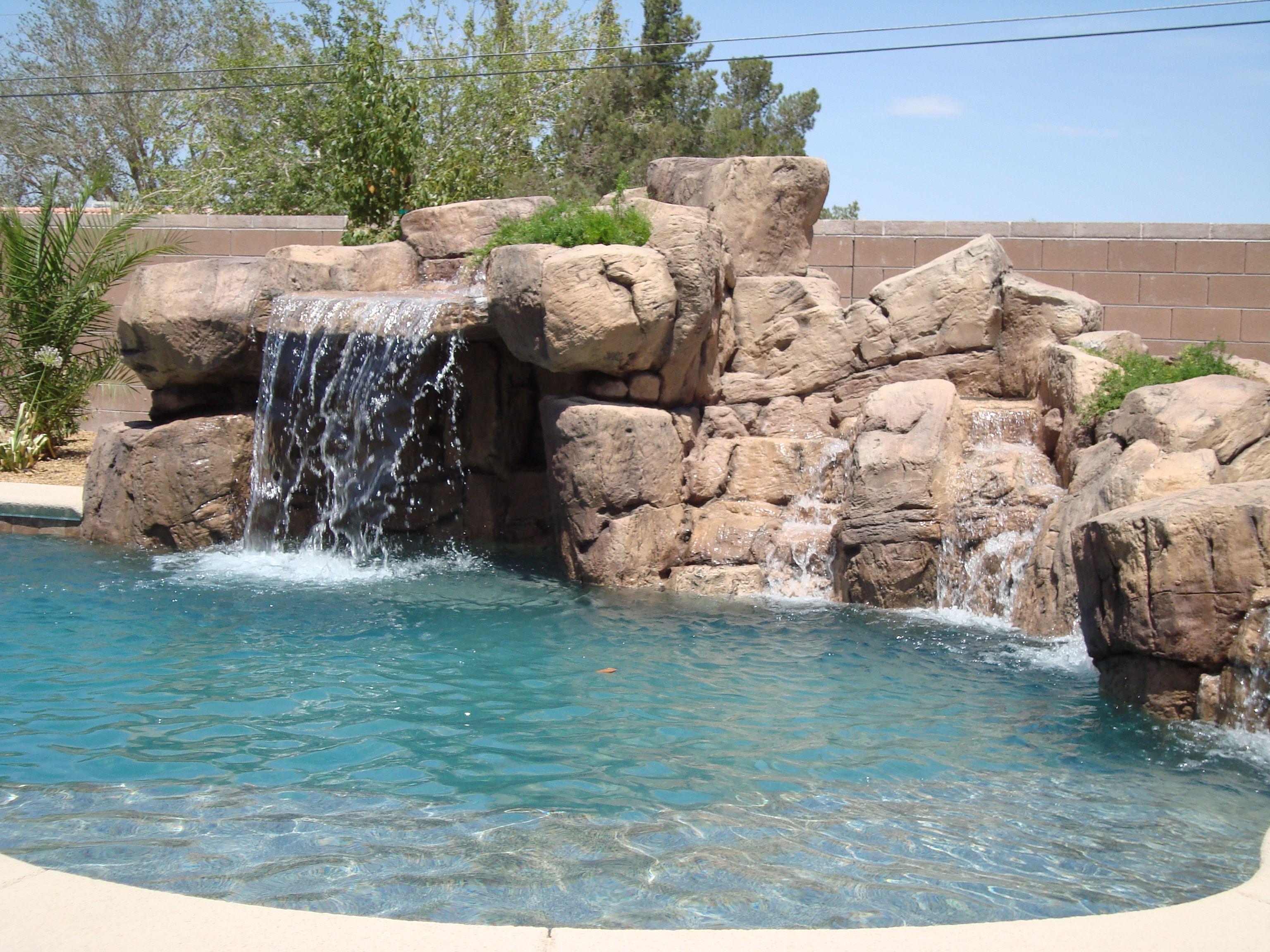 artificial rock swimming pool slides - Google Search   Backyard ...