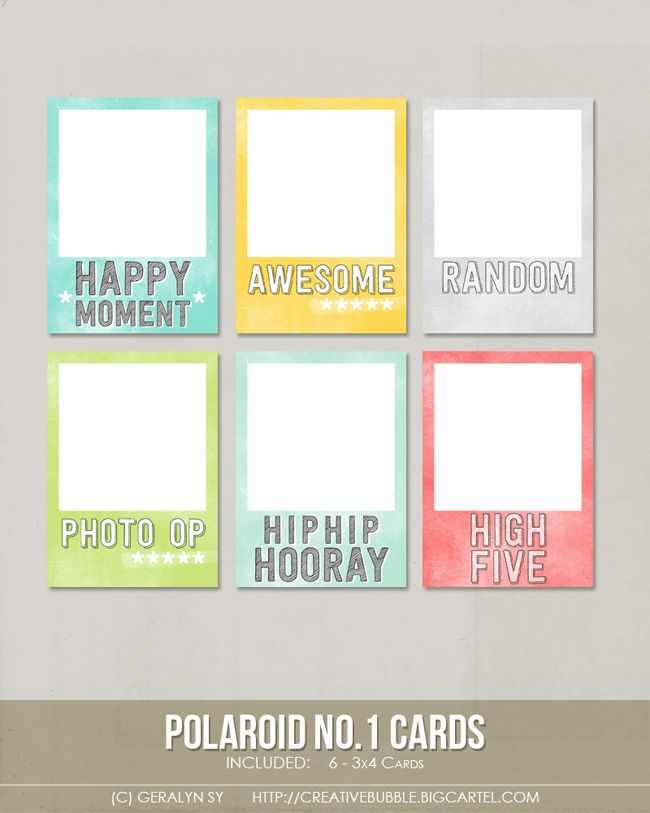 Polaroid no1 Cards - available for download, prices vary - polaroid template