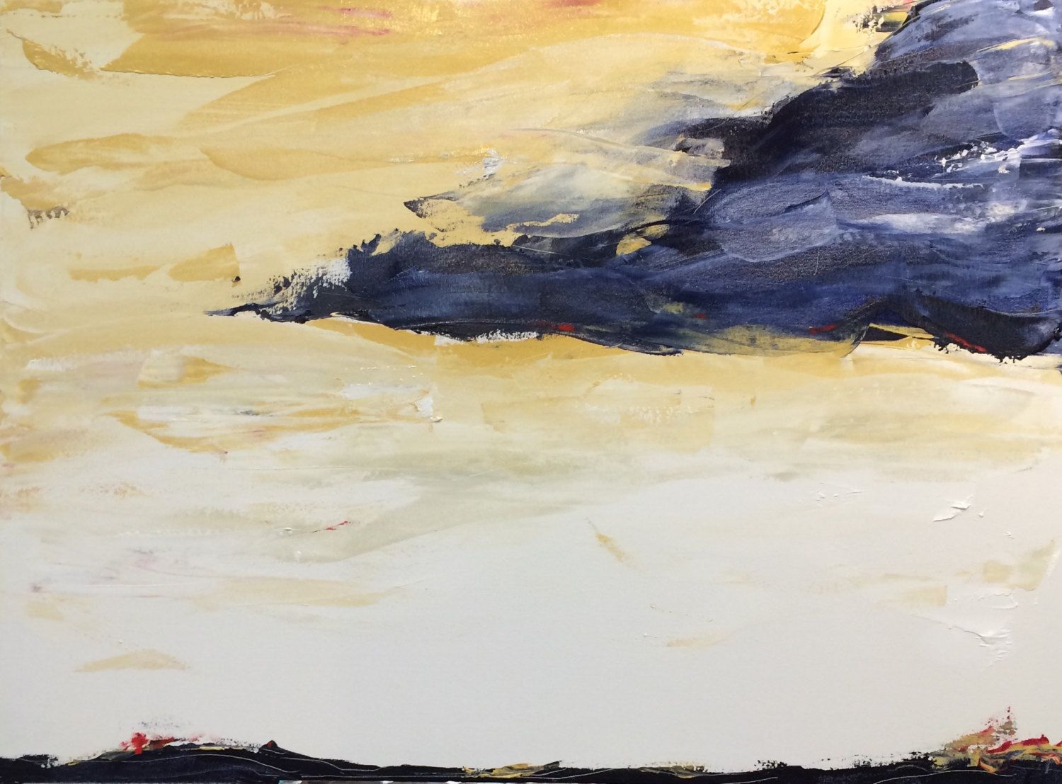 Soft waves and colors in an abstract painting with a landscape feel ...