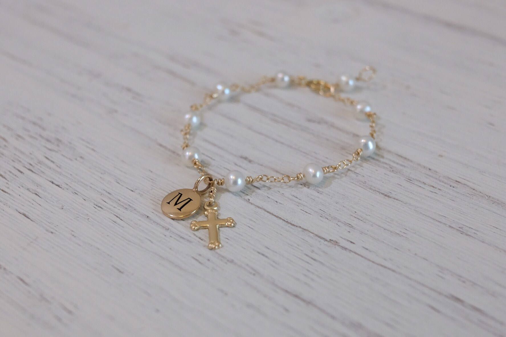 Sterling Silver Bracelet with Cross for Girl/'s Christening Day Gift Jewellery