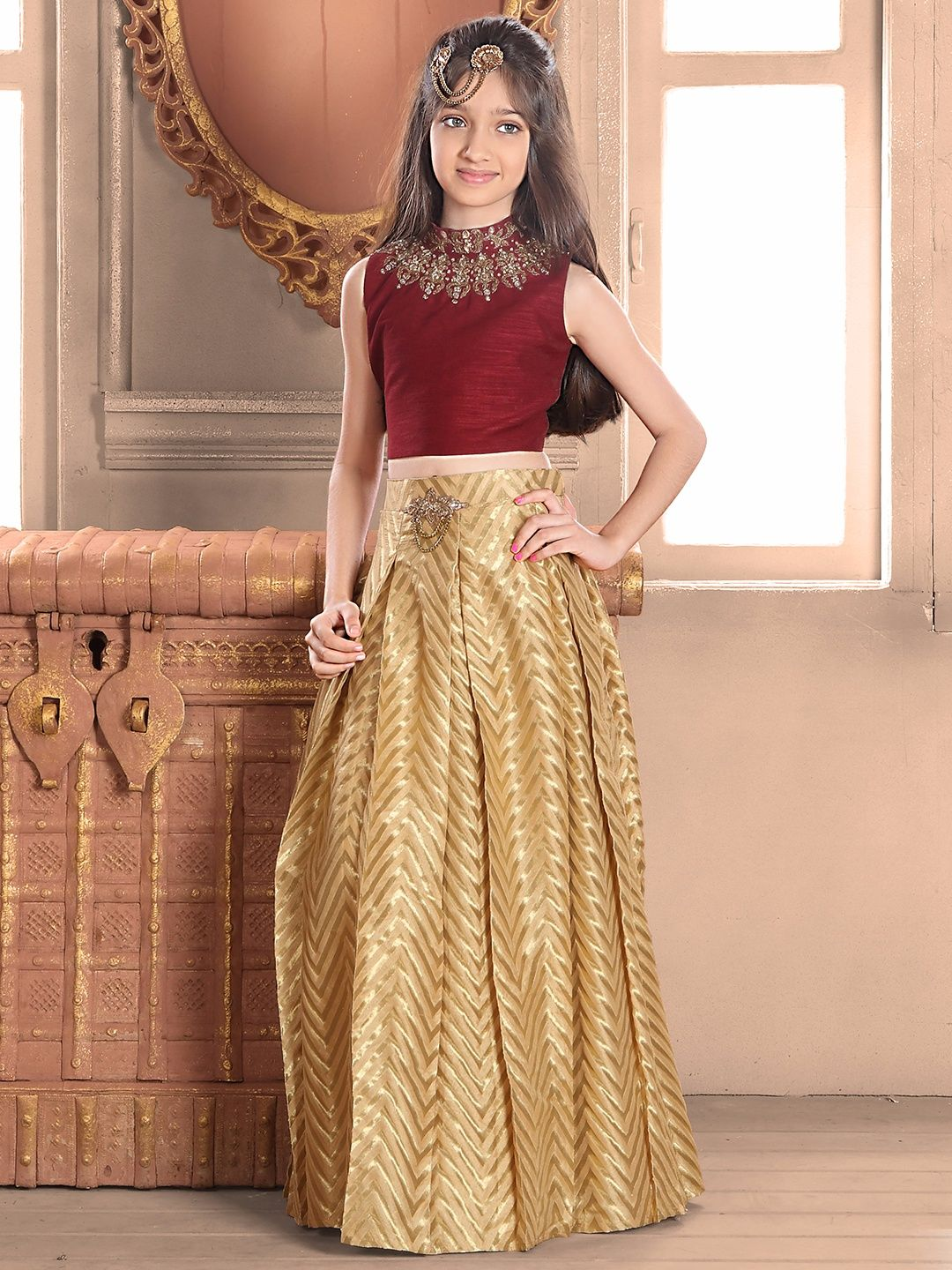 Maroon Raw Silk Choli Suit Hairs Dresses Party Wear