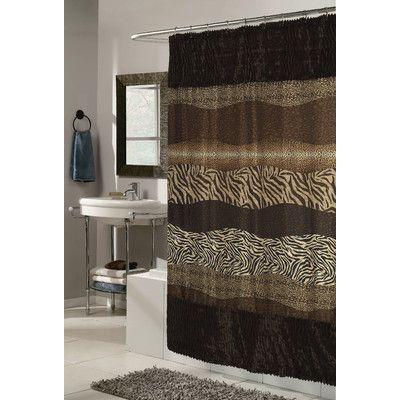 World Menagerie Ishanvi Faux Fur Trimmed Shower Curtain Brown Shower Curtain Bathroom Decor