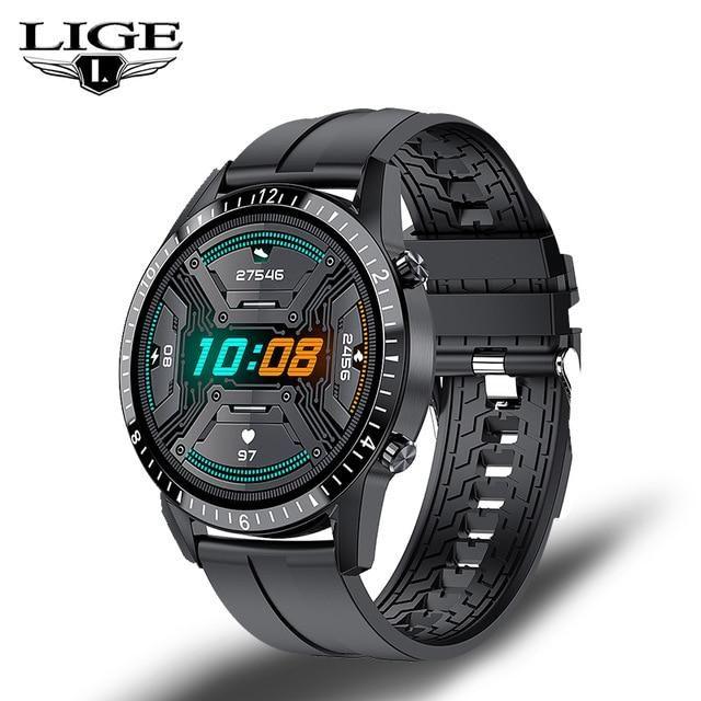 LIGE Bluetooth Phone Smart Watch Men Waterproof Sports Fitness Watch Health Tracker Weather Display 2020 New smartwatch Woman - Black / China