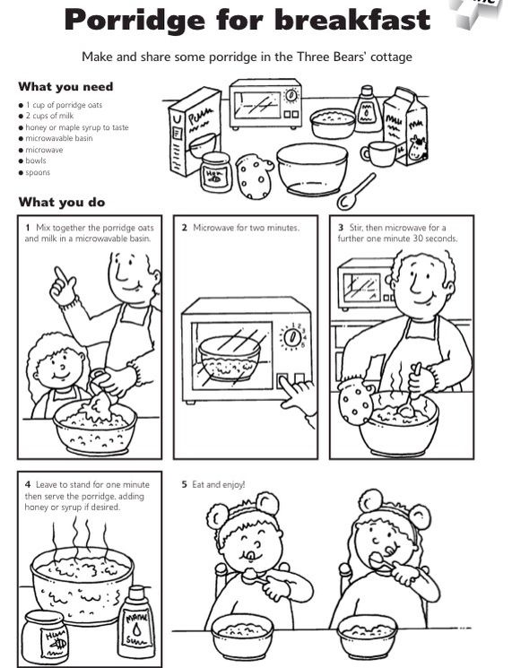 Goldilocks and the Three Bears porridge instructions