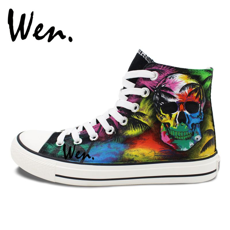 Canvas High Top Sneaker Casual Skate Shoe Mens Womens Coconut Palm Tree Pattern