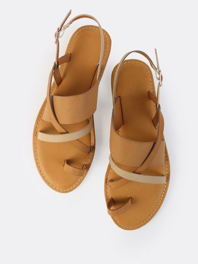 57a063e93f7d16 Cross Strap Thong Sling Back Sandals NATURAL