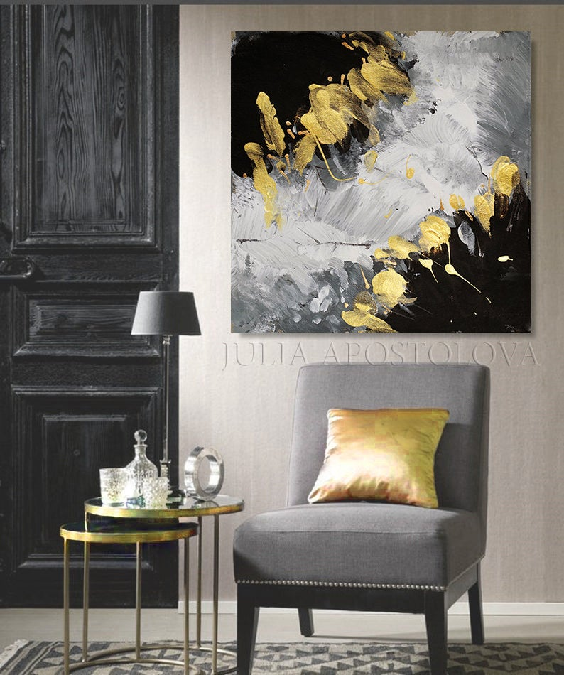 Grey Gold Black Art Textured Canvas Print Painting Elegant Wall Art For Livingroom Above Couch Decor Large Abstract Art For Dining Room In 2020 Elegant Wall Art Above Couch Decor Interior