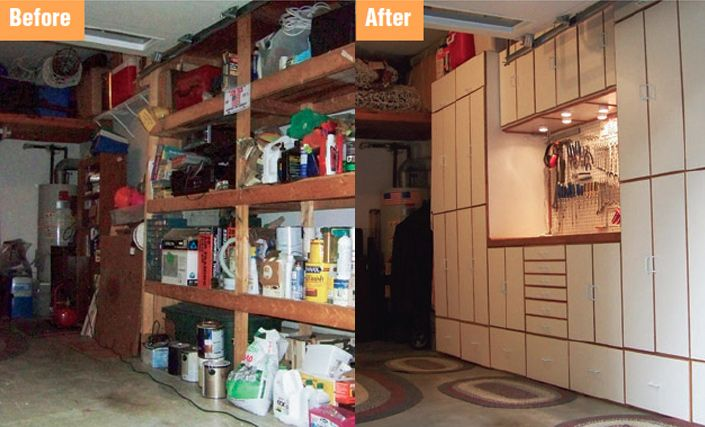 I wish my garage looked this good!! Virginia Woodworker's Simple Cabinet Home Project Turns into Wall Storage and Workbench