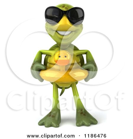 Clipart Of A 3d Tortoise Wearing Sunglasses And An Inner Tube
